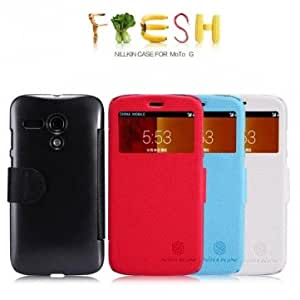NILLKIN View Window PU Leather Case For Motorola Moto G --- Color:Red