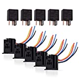 Ehdis 5 Pin Wires Cable Relay Socket Harness Connector 12VDC 30A SPDT Multi-Purpose Heavy Duty Standard Relay Kits for Car Automotive, Pack of 5