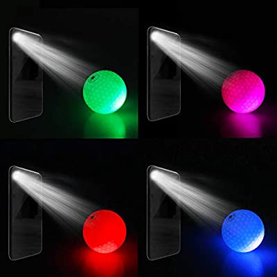 MYKUJA Crestgolf Light-Controlled Light up Golf Balls, Glow in The Dark Night Golf Balls Sole-Patent of Miracle Color-Changing - Pack of 4