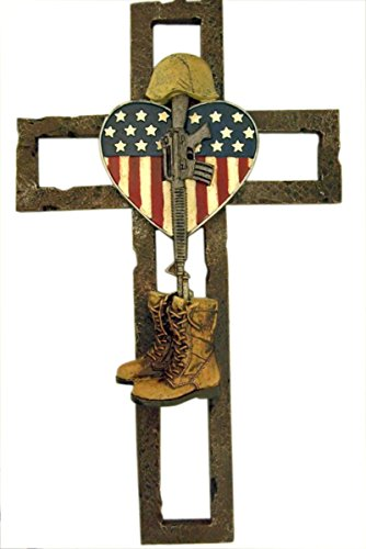 Deleon Military Fallen Soldier Wrought Iron Wall Cross, 11 3/4 -