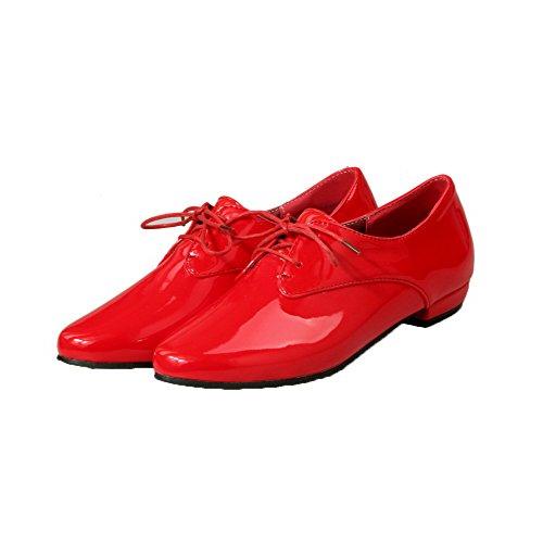 VogueZone009 Damen Spitz Zehe Blend-Materialien Gemischte Farbe Schnüren Pumps Schuhe Rot