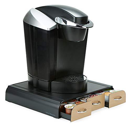 Mind Reader 36 Capacity 'Anchor' Triple Drawer K-Cup, Dolce Gusto, CBTL, Verismo, Single Serve Coffee Pod Holder Drawer, Black with Brown Wood Veneer