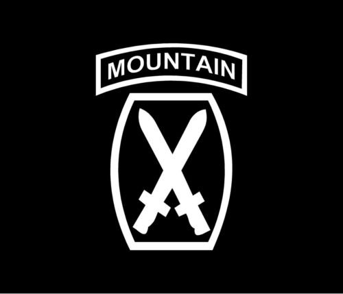 10th MOUNTAIN PATCH Vinyl Decal Car Window Bumper Sticker Tab Infantry Army, die cut vinyl decal for windows, cars, trucks, tool boxes, laptops, MacBook - virtually any hard, smooth surface