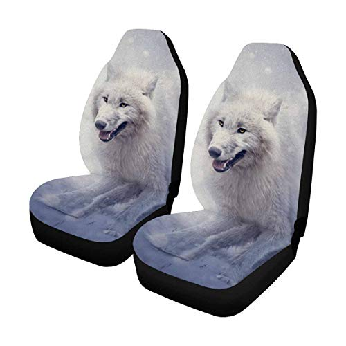 Wolf Car Mats - INTERESTPRINT Custom White Wolf Car Seat Covers for Front of 2,Vehicle Seat Protector Fit Most Car,Truck,SUV,Van