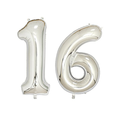 NUOLUX Number 16 Balloons,Birthday Foil Balloons Party Supplies,40 Inch,Silver (Balloon Birthday Silver)