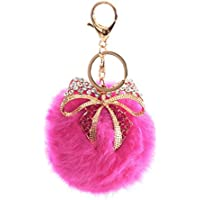 AutumnFall® Rabbit Fur Ball Bow Rhinestone Keychain Bag Plush Key Ring Car Key Pendant (Hot Pink)
