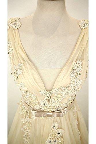 Jessica Stuart Beige 3265 Emroidered Net Overlay Kleid Beige