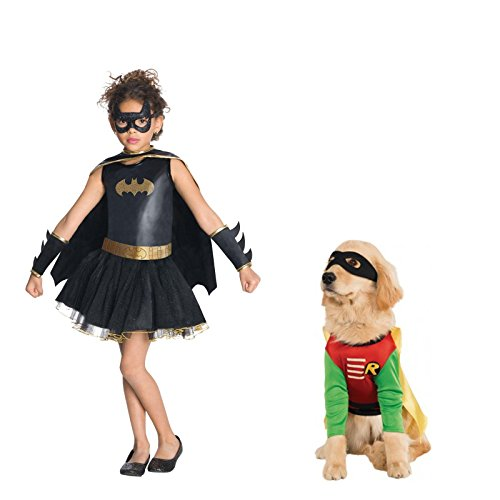 Halloween Batman Robin Costumes And Dog (Batgirl Tutu Small Child Costume with Robin Large Pet Costume Bundle)