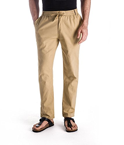 MUSE FATH Men's Drawstring Beach Pant Summer Cotton Linen Loose Pants-Khaki-XXL ()