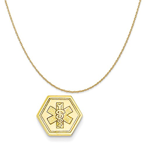 14k Yellow Gold Non-Enameled Attachable Medical Emblem Charm on 14K Yellow Gold Rope Necklace, 20