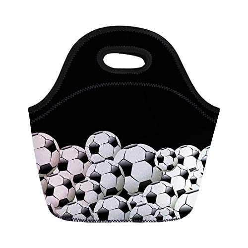 Soccer Football White Tote Lunch Bag for Women Men Costum Picnic Box Luggage Kids Girls Boys Insulated Meal with Zipper Closure Unisex]()
