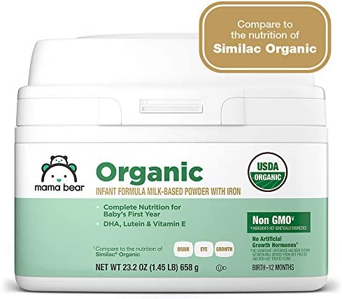 41j17H5b%2BfL. AC - Amazon Brand - Mama Bear USDA-Certified Organic Milk-Based Powder Infant Formula With Iron, 23.2 Ounce