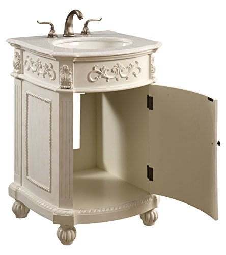 Antique White Danville 24in. Wide 1 Door Vanity Set – Includes Cabinet, Stone Top, and Undermount Sink For Sale