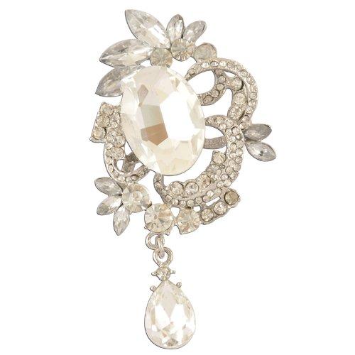 Crystal Brooch Dangling (White Crystal Dangling Victorian Brooch)