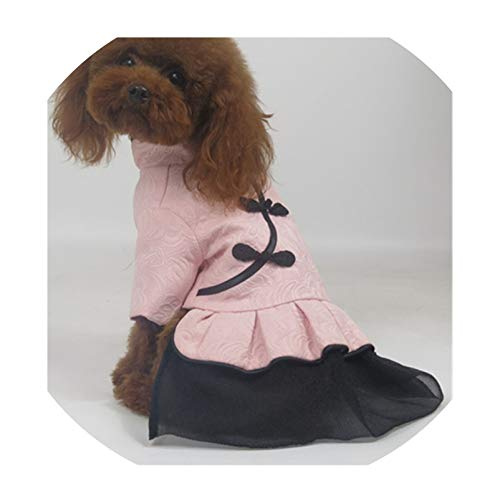 Pet Dog Dress Winter New Year Dog Clothes Tang Suit Cheongsam Cat Puppy Chihuahuashire Poodle Bichon Small Dog Costume,Pink 1,L -