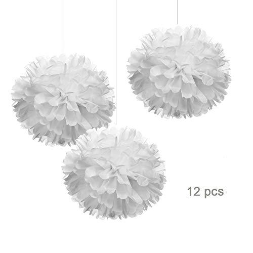 12 White Tissue Pom Poms DIY Paper Flower Hanging for Party Decorations, 12pcs