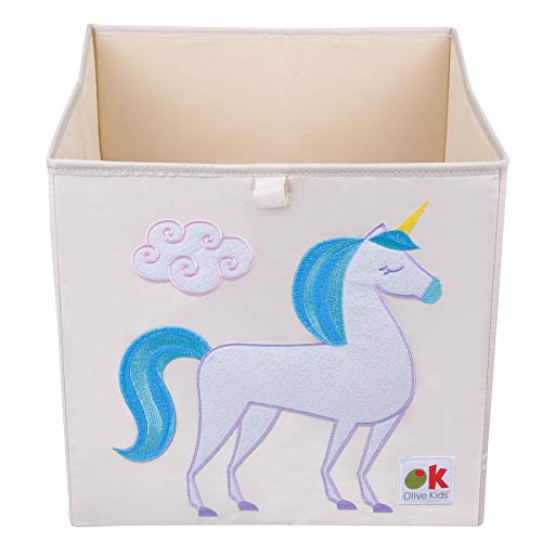 Wildkin Olive Kids 13 Inch Storage Cube, Perfect Promoting Organization, Measures 13 x 13 x 13 Inches, Coordinates Other Room Décor – Unicorn
