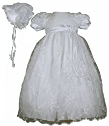 White Embroidered Tulle Christening Baptism Gown - Size XS (0-3 Month)