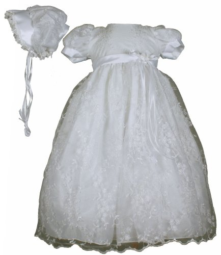 White Embroidered Tulle Christening Baptism Gown - Size S (3-6 Month) by Swea Pea & Lilli