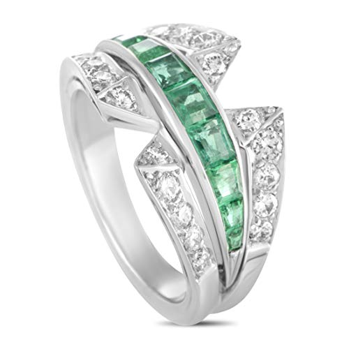 Van Cleef & Arpels (Est.) Van Cleef & Arpels Vintage Platinum Diamond and Emerald Band -