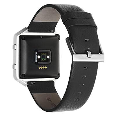 Henoda Leather Wristband for Fitbit Blaze Smart Watch,Blaze Band,Large,Small