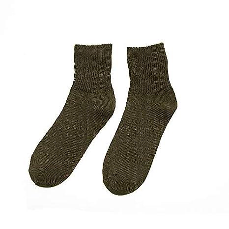 CARDMOE Calcetines de línea Gruesa térmica Casual para Hombres de otoño Invierno, Color sólido para