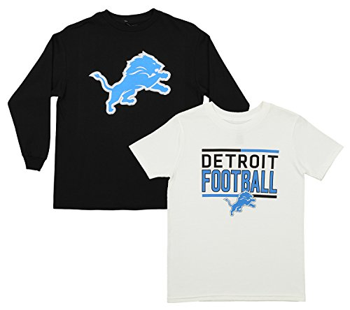 Outerstuff NFL Youth Team Flag Runner Short and Long Sleeve Set, Detroit Lions Small (8)