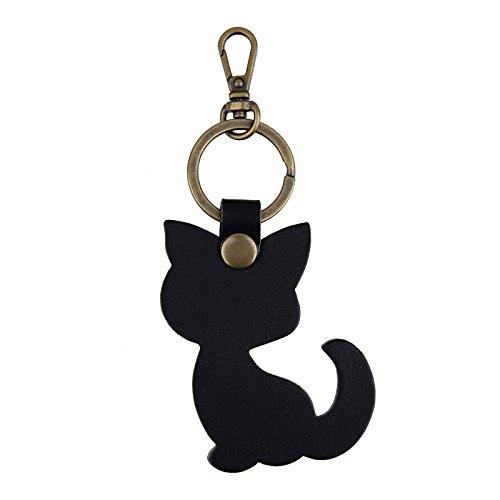 Richbud Full Grain Leather Cat Key Chain Ring Vegetable Tanned Leather rbk028 (Black Cat Bronze)