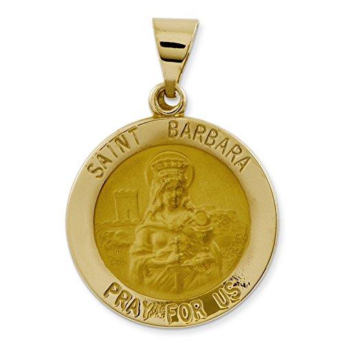 Satiné poli 14 carats et St. Barbara-Médaille JewelryWeb