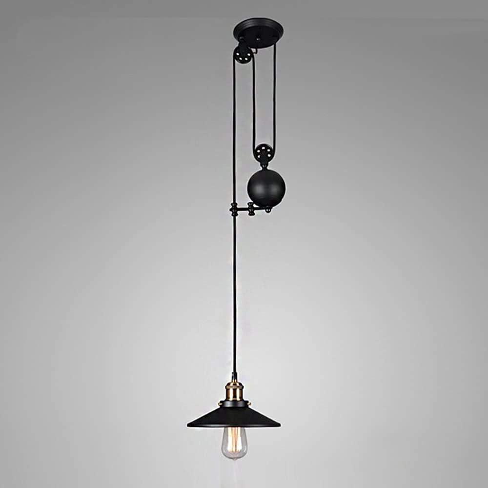 Vintage lámparas de araña de la polea de hierro, antigua polea retráctil luces de aterrizaje techo industrial para la isla de cocina Restaurante Bar pasillo del ático,1lighting