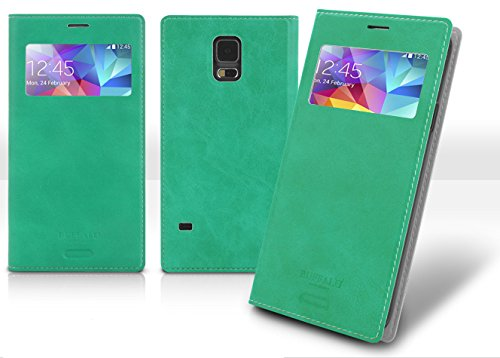 - S4 View Case, Galaxy S 4 Soft Leather Flip Cover, 9 Colors - Retail Packaging (Mint)