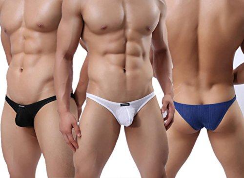 JAC Men's Sexy Transparent Silk Feel Mesh Briefs Underwear Black XL
