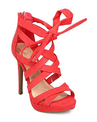 Wild Diva Womens Open Toe Strappy Lace Up Ankle Tie High Heel Pump in Hot Coral Size: 8 (5 Inch Sexy Open Toe)
