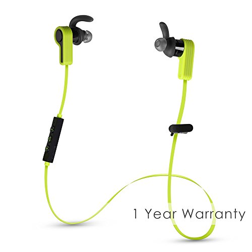 Bluetooth Battery Life (Ausdom Bluetooth v4.1 Headphones Wireless, In-Ear Stereo Earphones, Sport Sweatproof Earbuds with Built-in Mic & Long Battery Life for iPhone, Android Phones, Tablets and Smart Devices - Upbeat Green)