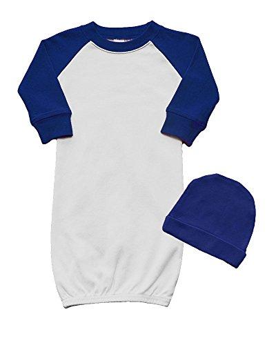 Raglan Baseball Baby Gown and Cap Set 0-3M White/Navy