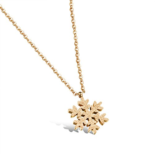 Titanium Steel Gold Tone Scrub-dimensional Snowflake Pendant Necklace for Womens