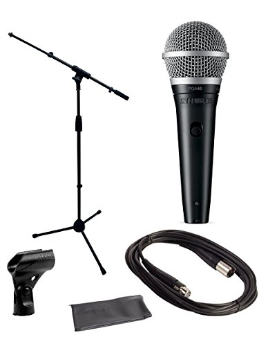 Shure PGA48 Microphone Bundle with MIC Boom Stand and XLR Cable