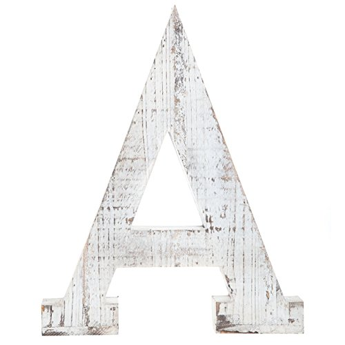 Distressed White Alphabet Wall Décor/Free Standing Monogram Letter A