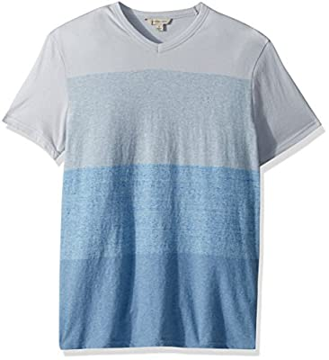 Calvin Klein Men's Short Sleeve T-Shirt V-Neck Heather Color Block