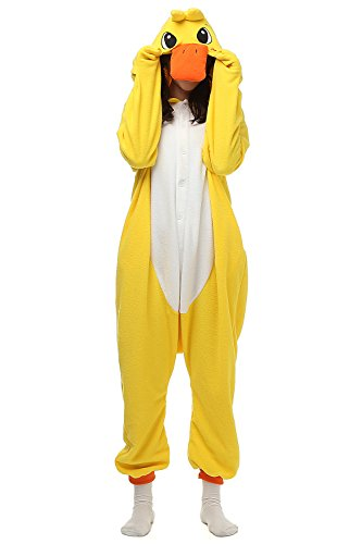 Adults Kigurumi Yellow Duck Onesie Pajama Cute Animal Costume Cospaly Partywear Outfit Homewear M (Cute Animal Costumes For Men)