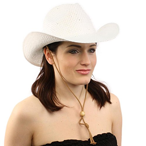 Ladies Summer Straw Western Cowboy Cowgirl Structured Draw String Cap Hat White