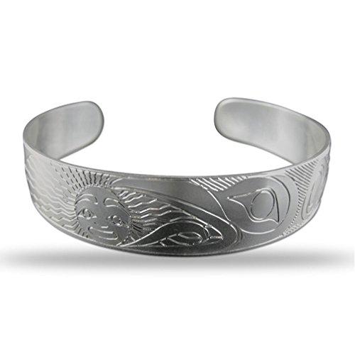 Sterling Silver Raven Pacific Northwest Coast Native 1/2 Inch Wide Bracelet by Richard Krentz Native Coast Salish Artist
