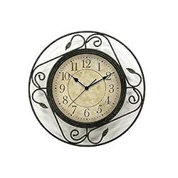 Geneva Clock Wrought Iron Wall Clock, 14-Inch