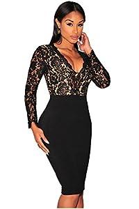 Kearia Women Sexy Deep V-Neck Bodycon Long Sleeves Mini Lace Dress Clubwear Dress