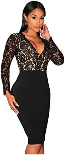 Kearia Women Sexy Deep V-Neck Bodycon Long Sleeves Mini Lace Dress Clubwear  Dress fd2c2b734