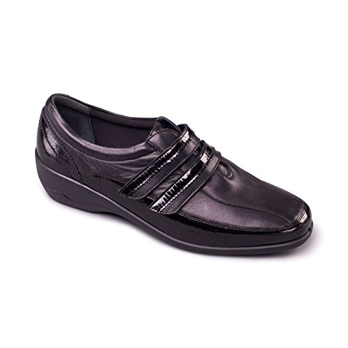 Black Horn Fit EE Extra Free UK Women's Padders Wide Footcare 'Velvet' Leather Shoe Combi Shoe Oq0Zw