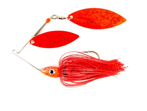Nichols Lures Pulsator Metal Flake Double Willow Spinnerbait, Red Pepper, 3/8-Ounce (Flake Metal Red)