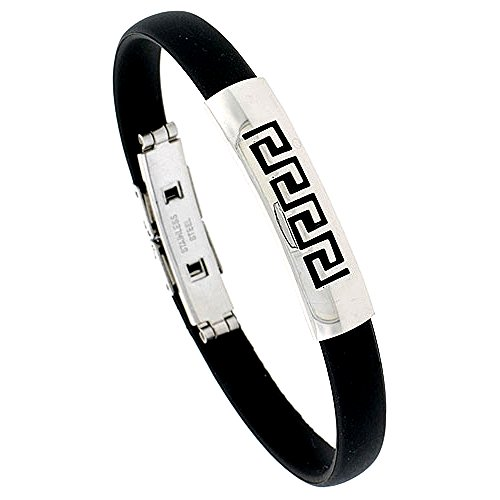 - Stainless Steel Greek Key Bangle Bracelet For Men Black Rubber Accent 3/8 inch wide, 8 inch long