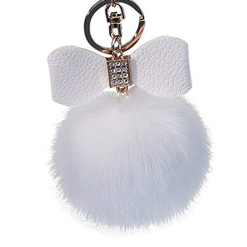 Bravetoshop Diamond Artificial Rabbit Fur Ball Bowknot Keychain Bag Plush Car Key Ring Pendant Gift Easter -