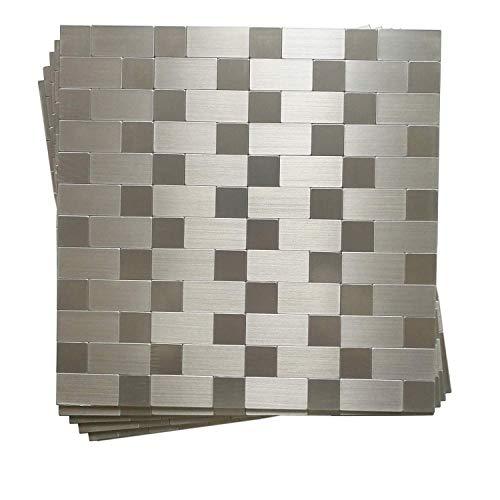 (Hometile Peel and Stick Tile Backsplashes, Stainless Steel Stick on Wall Tiles for Kitchen, Metal Backsplash for Kitchen, Silver Aluminum Surface (Pack of 5 Sheet))